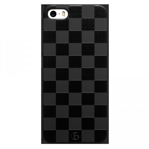 iPhone5/5s/SE チェッカード ブラックラバーケース