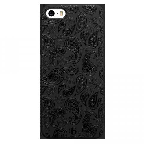 iPhone5/5s/SE ペイズリー ブラックラバーケース