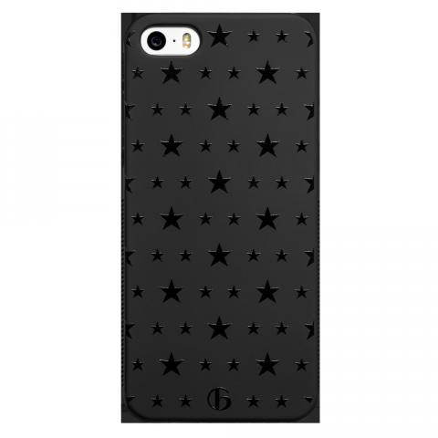 iPhone5/5s/SE ダブルサイズスター ブラックラバーケース