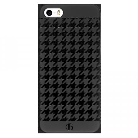 iPhone5/5s/SE ハウンズトゥース ブラックラバーケース