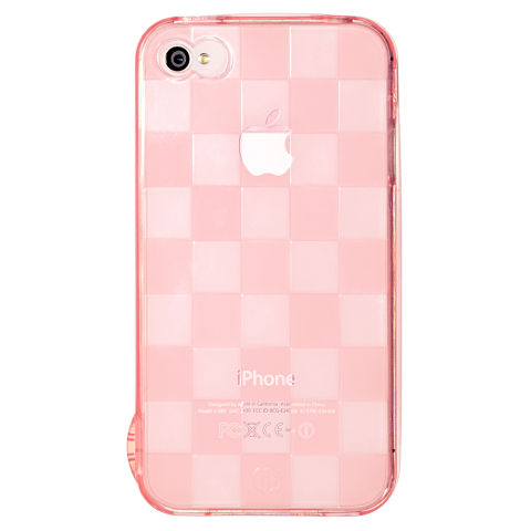 iPhone4/4s チェッカード ピンク ソフトTPUケース